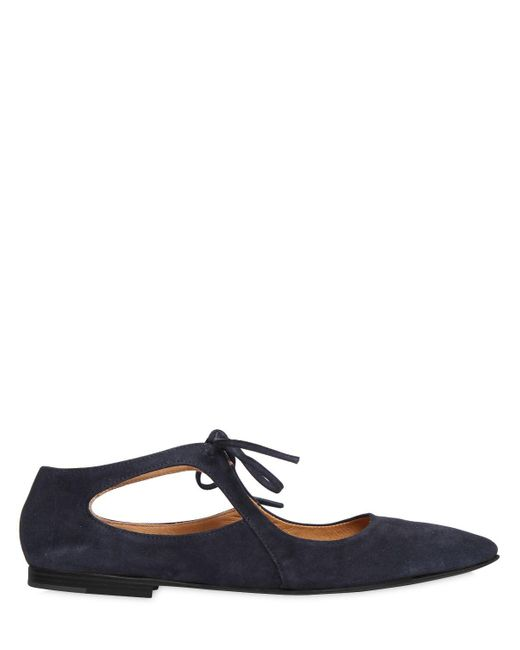 Pomme D'or | Blue 10mm Suede Lace Up Ballerina Flats | Lyst