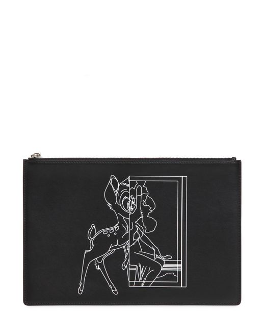 Givenchy   Black Medium Bambi Printed Leather Pouch   Lyst