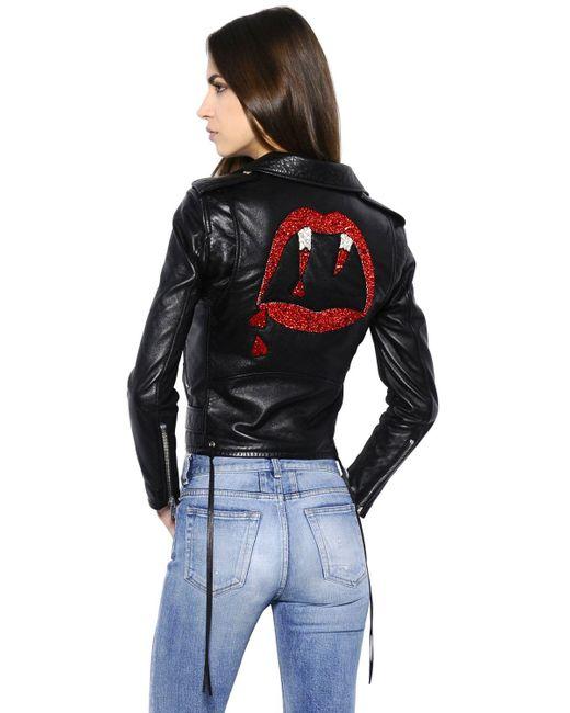 Saint Laurent Blood Luster Biker Leather Jacket In Black