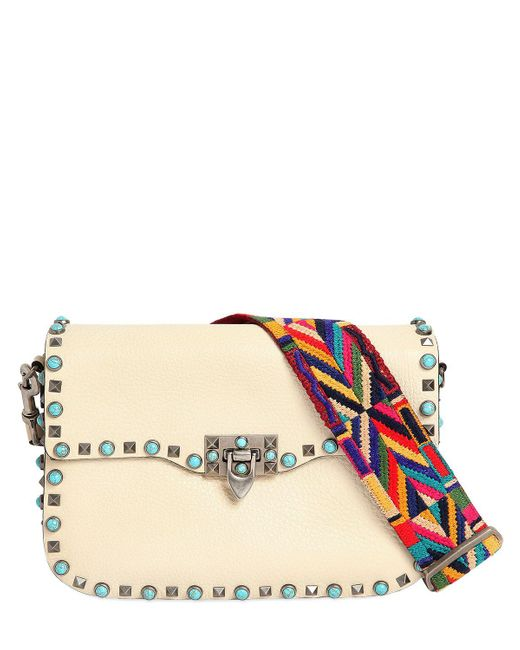 valentino rockstud rolling bag w embroidered strap in white lyst. Black Bedroom Furniture Sets. Home Design Ideas