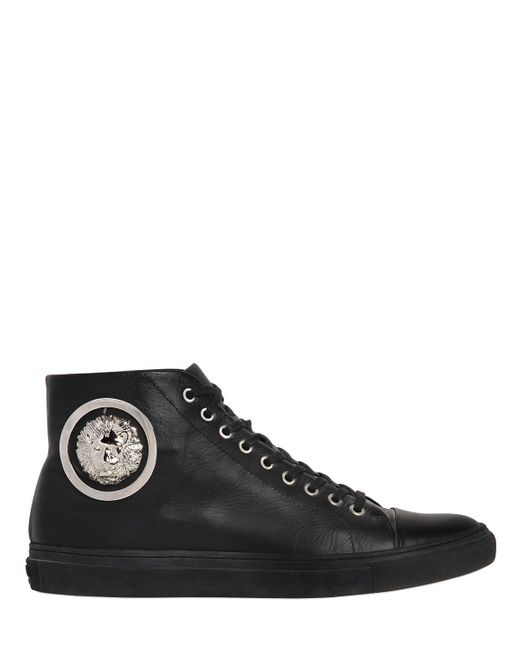Versus | Black Lion Leather High Top Sneakers for Men | Lyst