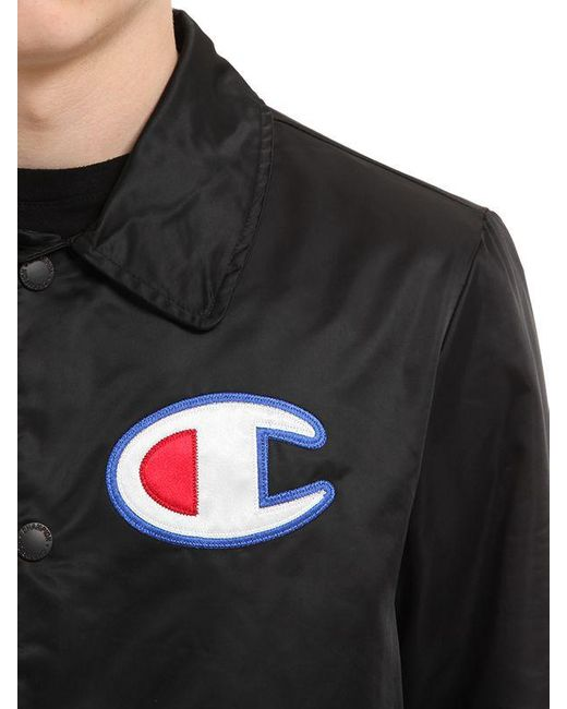 Champion Logo Nylon Coach Jacket In Black For Men Lyst