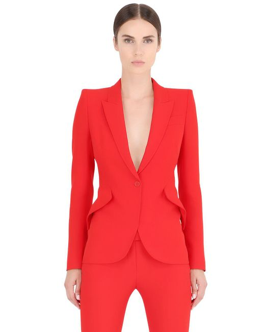 Alexander McQueen   Red One Button Leaf Crepe Jacket   Lyst