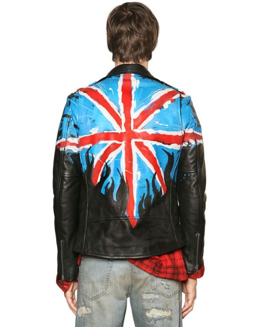 Faith Connexion Flag Hand Painted Leather Biker Jacket In