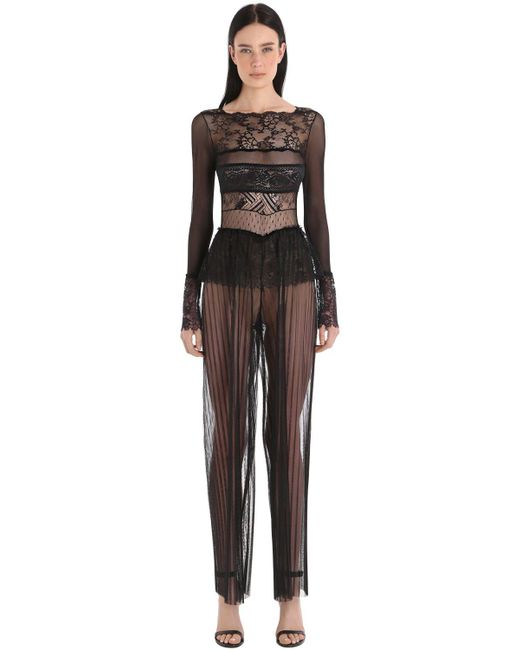 mantoux gaia paneled sheer lace tulle jumpsuit in mantoux gaia paneled sheer lace tulle jumpsuit in