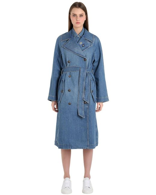 tommy hilfiger cotton denim trench coat gigi hadid in blue. Black Bedroom Furniture Sets. Home Design Ideas
