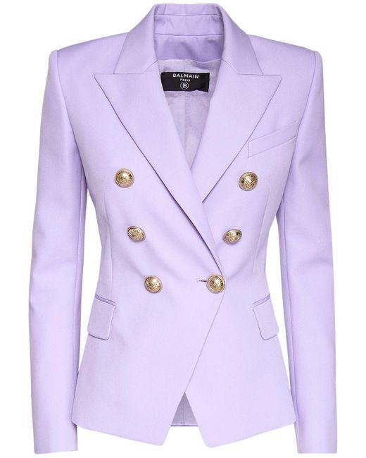 Balmain ダブルブレステッドウールブレザー Purple