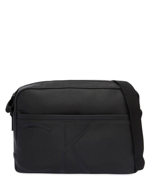 Calvin Klein - Black Sac Messenger En Tissu Enduit Avec Logo for Men - Lyst