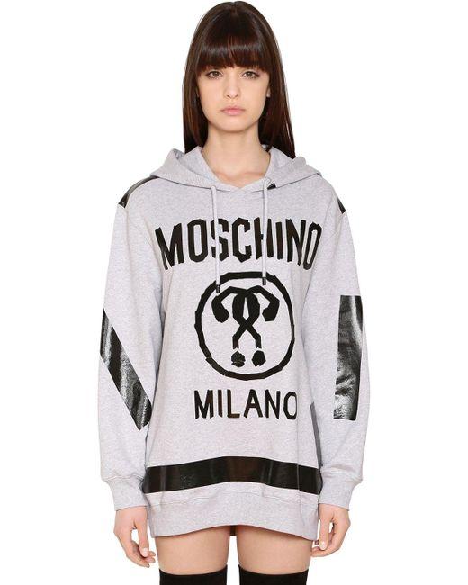 Moschino | Gray Hooded Logo Sweatshirt Dress | Lyst
