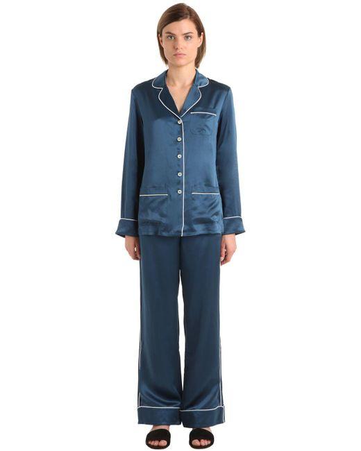 Olivia Von Halle | Blue Coco Silk Satin Pajama Set | Lyst