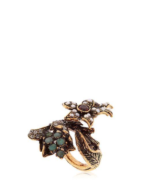 Alcozer & J | Metallic Flora Pearl, Emerald & Crystal Ring | Lyst