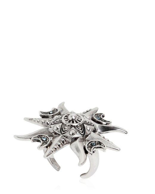 Roberto Cavalli | Metallic Sun Crystals Embellished Ring | Lyst