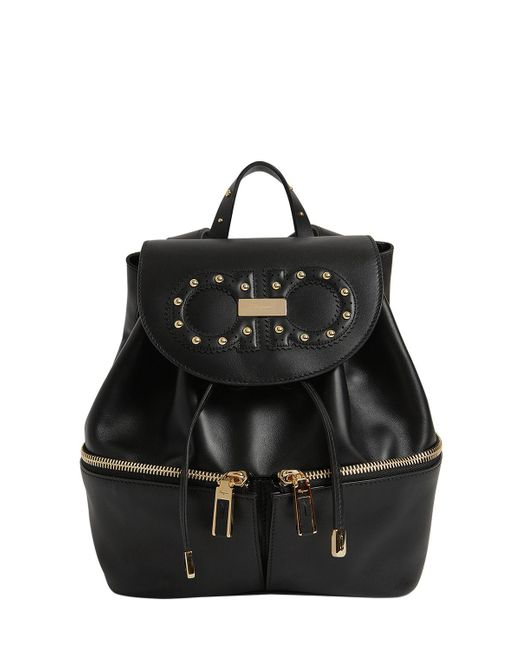Ferragamo | Black Jam Groove Leather Backpack | Lyst