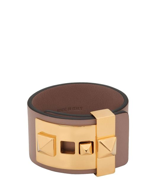 Valentino   Brown Rockstud Leather Cuff Bracelet   Lyst