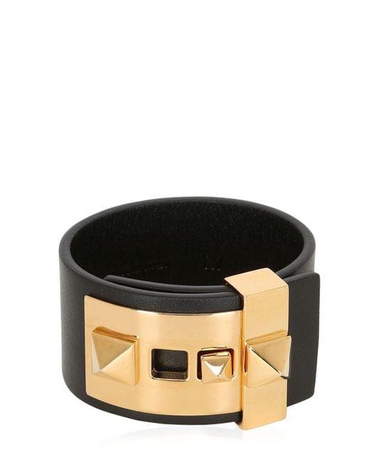 Valentino | Black Rockstud Leather Cuff Bracelet | Lyst