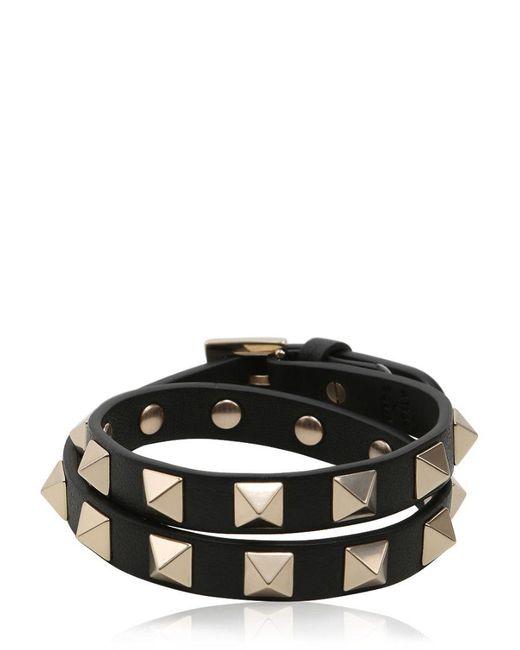 Valentino | Black Rockstud Wrap Around Leather Bracelet | Lyst