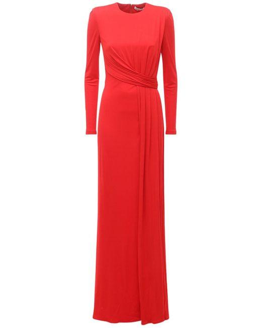 Alexander McQueen シルクジャージードレープドレス Red