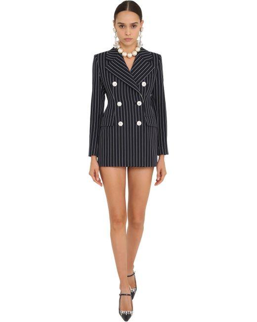 Шерстяное Платье-пиджак Alessandra Rich, цвет: Blue
