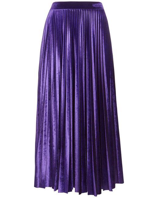 Юбка Со Складками Из Велюра Valentino, цвет: Purple