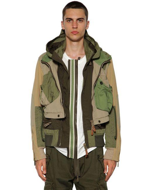 メンズ DSquared² コットンツイルボンバージャケット Green