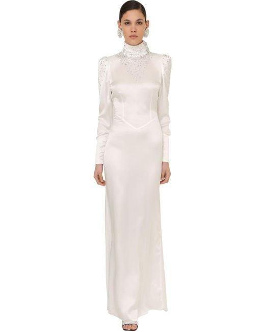 Alessandra Rich サテン ロングドレス White