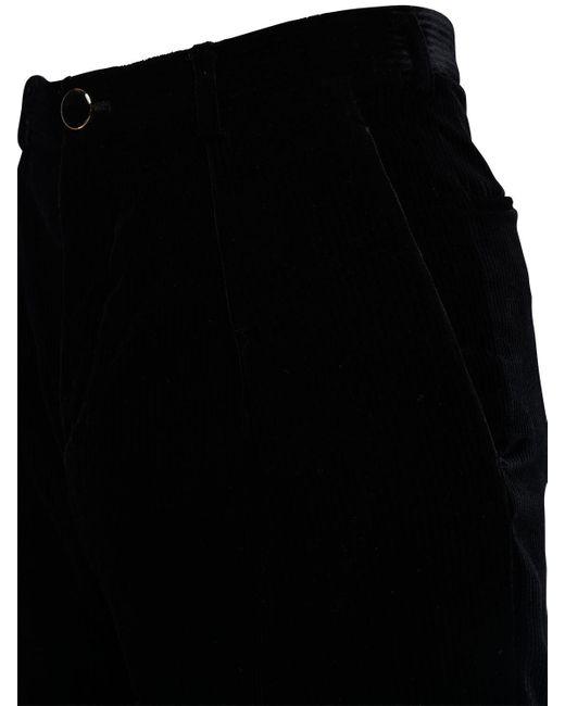 メンズ Saint Laurent ベルベットクロップパンツ 17cm Black