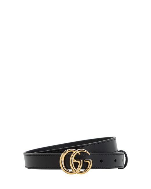 Gucci Gürtel aus Leder mit Doppel G Schnalle mit gewundener Struktur in Black für Herren