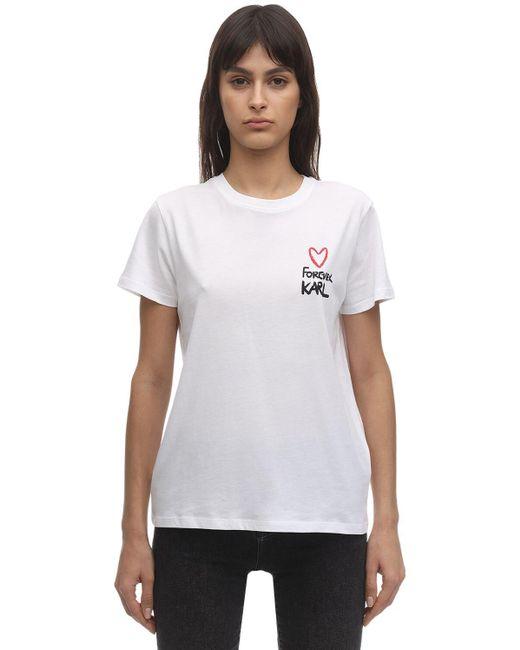 Karl Lagerfeld Camiseta De Algodón Jersey Con Estampado de mujer de color blanco
