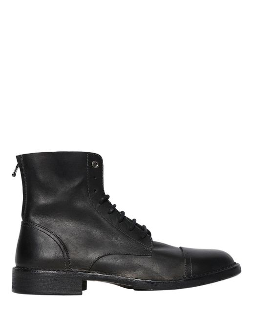DIESEL - Black Raw Cut Lace-up Leather Boots for Men - Lyst