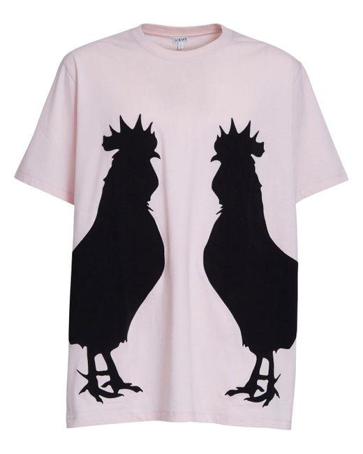 メンズ Loewe Rooster コットンジャージーtシャツ Pink
