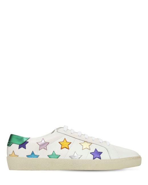 メンズ Saint Laurent Stars レザースニーカー Multicolor