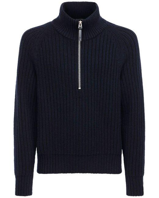Suéter De Punto De Cashmere Y Lana Con Cuello Alto Tom Ford de hombre de color Blue