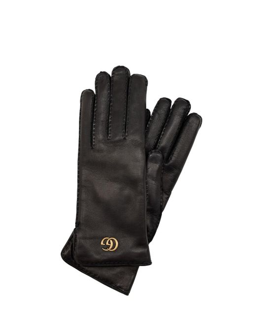 Gucci Black Gg Maya Embossed Leather Gloves