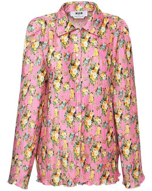 MSGM Pink Bedrucktes Hemd Aus Satin