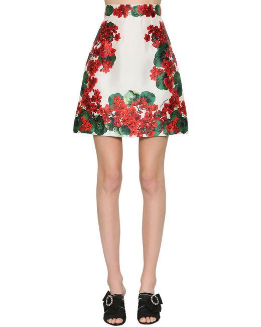 Юбка Из Шелка Микадо Dolce & Gabbana, цвет: Red