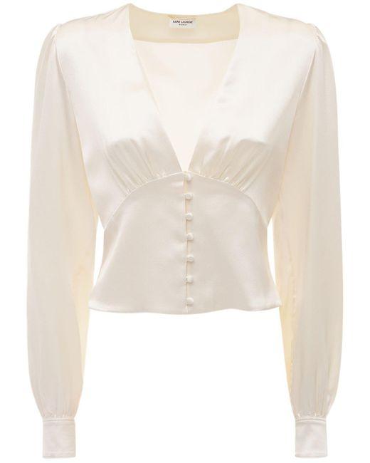 Saint Laurent シルクサテンシャツ White