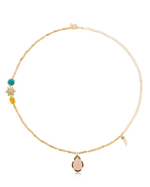 Iosselliani - Metallic Long Pearl & Linked Cylinder Necklace - Lyst