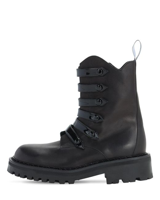 Кожаные Ботинки-комбат 50mm Moschino, цвет: Black