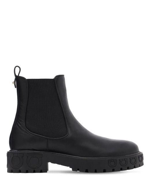 Кожаные Ботинки-комбат 20mm Ferragamo, цвет: Black