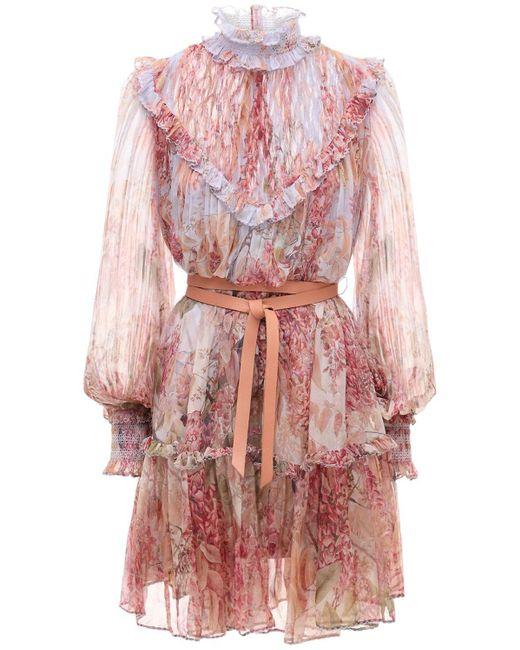 Zimmermann Botanica シフォンミニドレス Pink