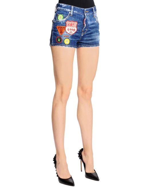 Short En Denim Avec Patchs Scout Coupe Cool Girl DSquared² en coloris Blue