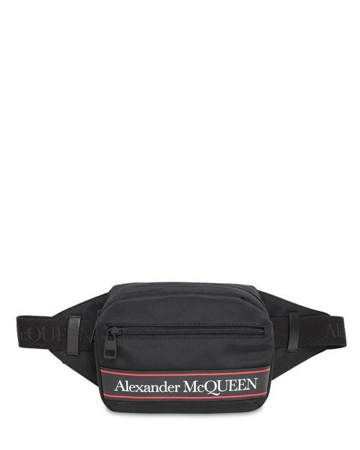 メンズ Alexander McQueen ナイロンベルトバッグ Black