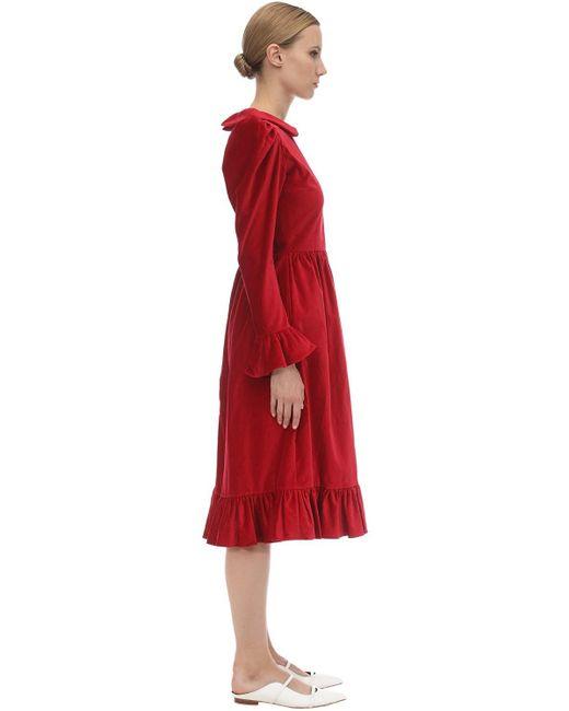 BATSHEVA ベルベットミディドレス Red