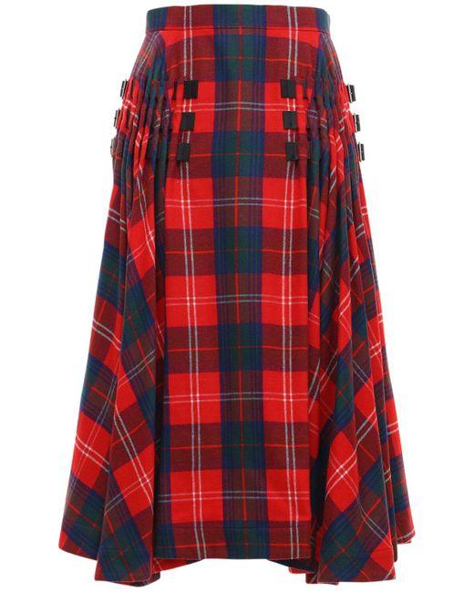 Noir Kei Ninomiya ウールタータンチェックスカート Red