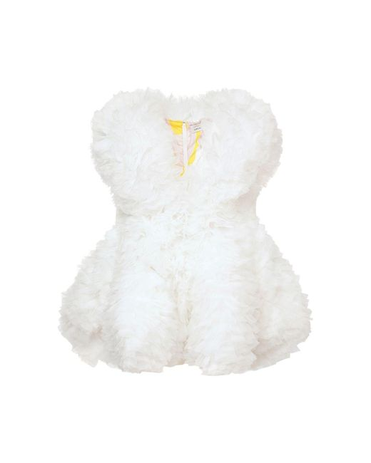 Emilio Pucci Tomo Koizumi オーガンザフリルミニドレス White