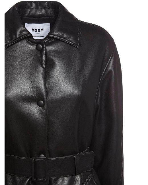 Пальто Из Искусственной Кожи MSGM, цвет: Black