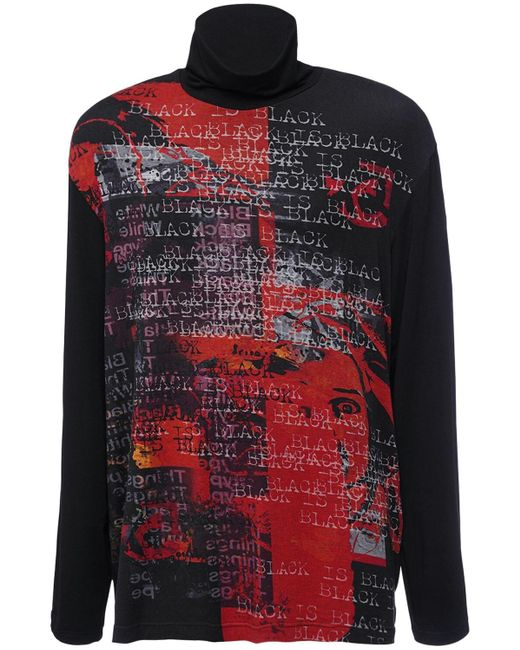 Maglia Collo Alto In Misto Viscosa Stampata di Yohji Yamamoto in Multicolor da Uomo