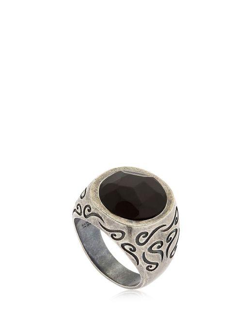 MARCO DAL MASO   Metallic Ara Engraved Silver Ring W/ Onyx   Lyst