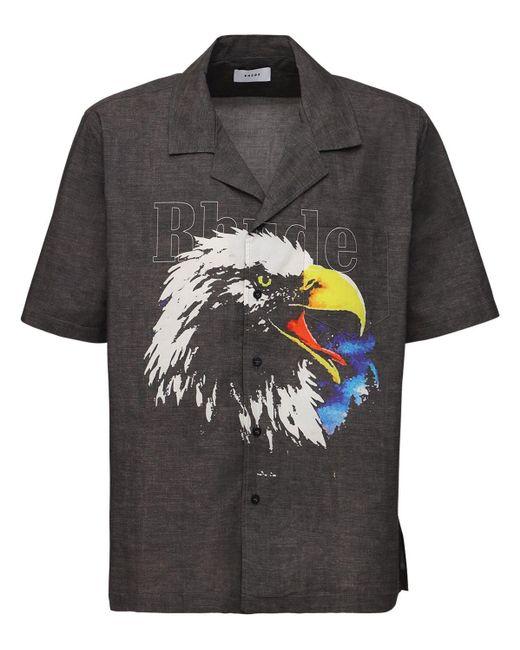メンズ Rhude コットンボウリングシャツ Black