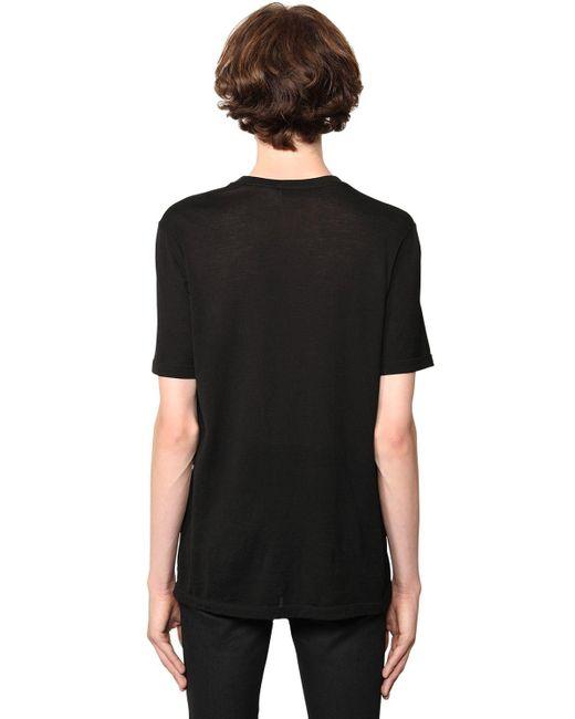 Футболка С Жаккардовым Логотипом Saint Laurent для него, цвет: Black